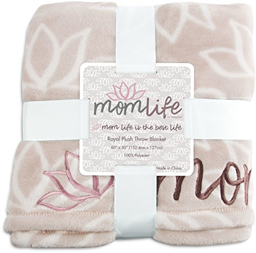 Mom Life 85222 Best Embroidered Plush Throw Blanket