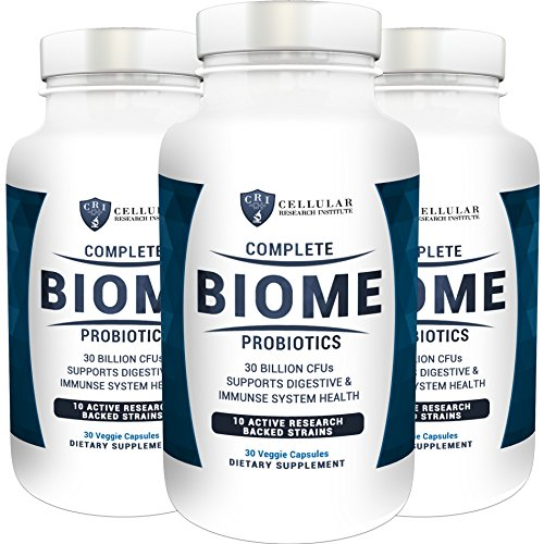 Complete Biome Probiotics - 30 Billion CFUs and 10 Active Strains - Stomach Relief - Boost Your Immunity - Mental Clarity - Lower Fatigue - 90 Money Back Guarantee (3 - Pack) by CRI Naturals