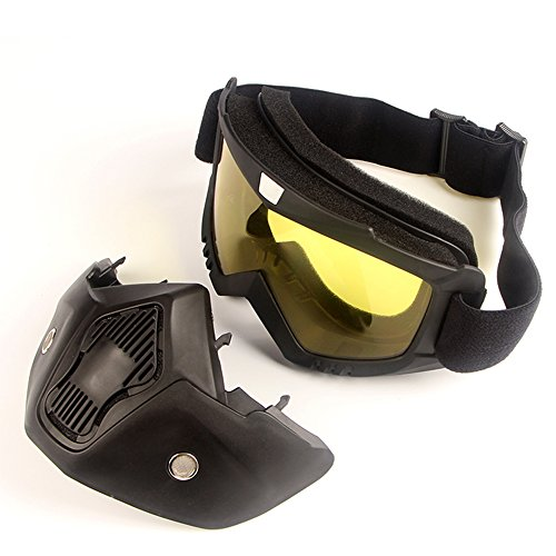 LUCKSTAR Motorcycle Goggles Mask - Detachable Motorcycle Helmet Riding Goggles Glasses Harley Style Protect Padding Helmet Sunglasses, Road Riding UV Motorbike Glasses (Yellow) by LUCKSTAR (Image #1)