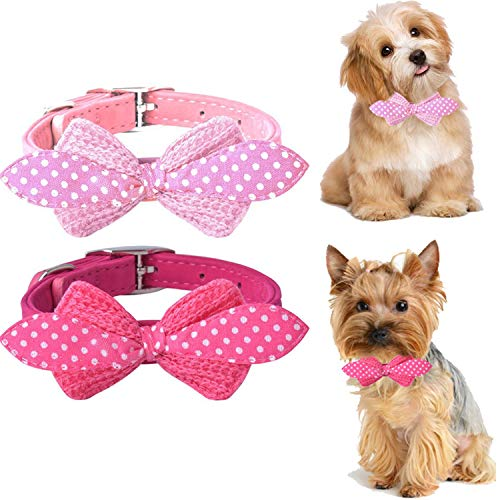 (SCENEREAL Bowtie Pink Small Dog Collars - 2Pcs/Set Cute Soft Puppy Cats Tiny Pets Collars for Girls Adjustable 8-11