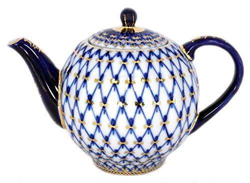(Lomonosov Porcelain Tulip Cobalt Net 3 Cups Teapot 20 oz/600 ml)