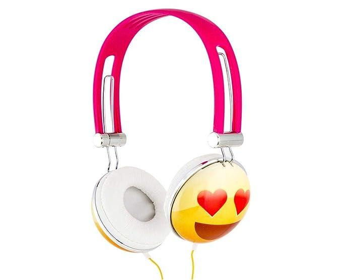 Live Love Music Emoji Overhead Stereo Headphones, Heart Eyes