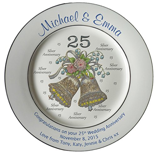 - Heritage Pottery Personalized Bone China Commemorative Plate for A 25th Wedding Anniversary - Wedding Bells Design with 2 Silver Bands