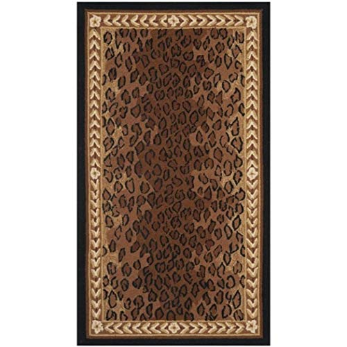 AM 2'6 x 4' Multi Color Brown Spoted Leopard Skin Rectangular Runner Rug, Wool Animal Wild Africa Safari Lively Wilderness Charming Quality Unique Majestic, Indoor Living Room Bedroom Accent Carpet