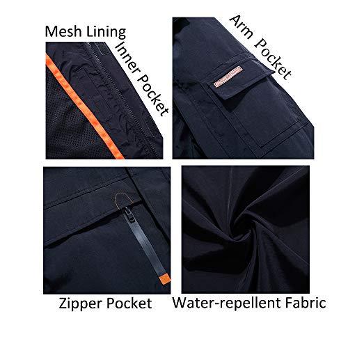 Yozai Jacket for Men, Men's Outdoor Sports Hooded Windproof Jacket Waterproof Rain Coat Black L by Yozai (Image #4)