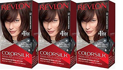 Revlon Colorsilk Beautiful Color, Dark Mahogany Brown, 3 Count