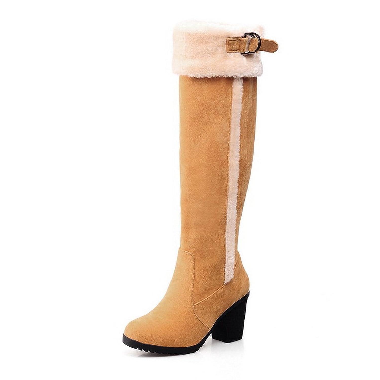 1TO9 Ladies Buckle Kitten-Heels Retro Xi Shi Velvet Boots
