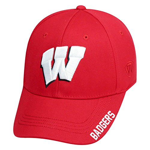 Top of the World NCAA-Premium Collection-One-Fit-Memory Fit-Hat Cap-Wisconsin Badgers