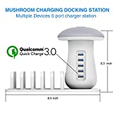 Multiport USB Charging Station Docking Stationfor iPads, Apple iPhone X/7/7plus/SE/5s/6S/PLUS, Smartphones, Tablets & Other Gadgets, Samsung Phone, 5 Port Charging Stand Organizer 3.0 Quick Charge