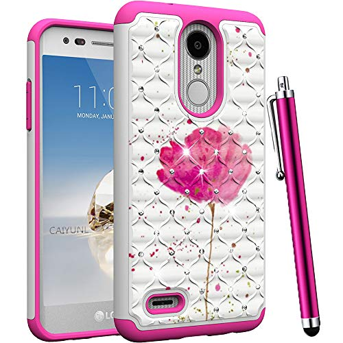CAIYUNL for LG Aristo 2 Case, LG Tribute Dynasty,Zone 4,Aristo 2 Plus,Fortune 2,K8 2018,K8 Plus,Risio 3,Rebel 3 LTE Bling Luxury Studded Rhinestone Girls Women Dual Layer Protective Cover -Pink Flower