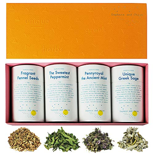 Gourmet Herbal Tea Gift Set for Tea Lovers - 4 Flavors of Loose-Leaf Herbal Tea in Gift Box - Caffeine Free - Handpicked and Sustainably Sourced in Greece
