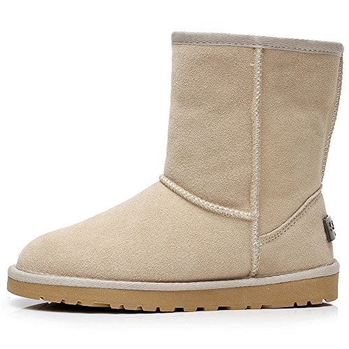 rismart Women Classic Mid-Calf Faux Fur Lined Suede Snow Boots Many Colors Available Tan SN1025 US12 VmfRK9vl