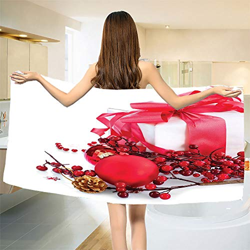 smallbeefly Christmas Bath Towel New Year Box with Berries Pine Cone and Baubles End of The Year Party Theme Bathroom Towels Red Gold White Size: W 27.5
