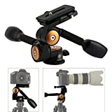 TARION Q80 Professional DSLR Tripod 360° Three-Dimensional Pan Head with Quick Release Plate and Double Adjustable Grips for Canon Nikon Sony Pentax