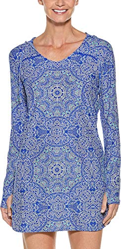 Coolibar UPF 50+ Women's Seacoast Swim Cover-Up Dress - Sun Protective (X-Small- Baja Blue Bold Mosaic)