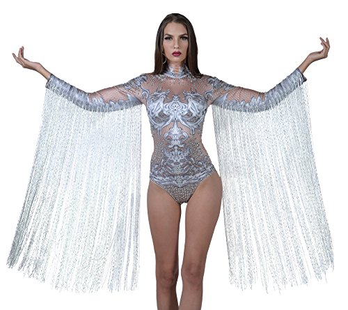 Charismatico White Crystallized Fringe Dance Drag Queen Leotard with ArmTassels - Diva Gown