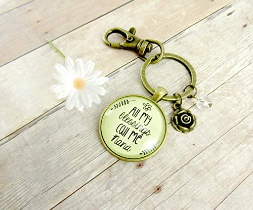 Nana Keychain All My Blessings Call Me Nana Gift Quote Womens Grandma Jewelry Blessed Life Card Flower Charm