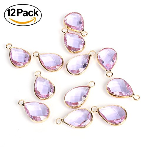 Wholesale Pack-12 PCS 14K Gold Plated Over Brass Frame Teardrop Waterdrop February Birthstone Charms Faceted Glass Pendants Bulk for Jewelry - Teardrop Frame