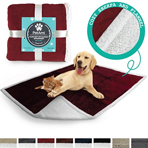 PetAmi Deluxe Dog Blanket for Couch | Pet Blanket for Puppy and Large Dogs | Reversible Sherpa Fleece Plush Cat Throw - 40 x 50 Inches Wine