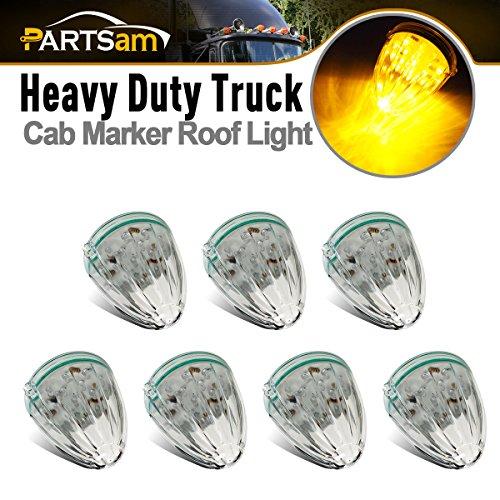 Partsam 7pcs Top Roof Running Amber Cab Marker Lights 17LED Clear Lens Replacement for Kenworth Peterbilt Freightliner Mack Truck Trailer