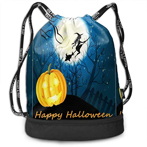 Appy Halloween Witch Pumpkin Drawstring Bag Funny Travel Backpack Drawstring Tote Bag
