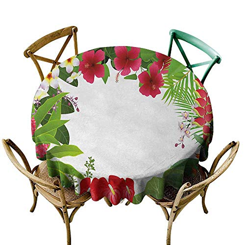 (Zmlove Leaf Round Tablecloth Hibiscus Plumeria Crepe Gingers Anthurium Leaves Frame Image Print Easy to Clean Hot Pink White Red and Green (Round - 43