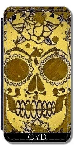 Leder Flip Case Tasche Hülle für Apple Iphone 7 Plus / 8 Plus - Trendy Sugarskull, Golden by More colors in life