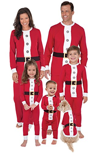 PajamaGram Santa Suit Christmas Matching Family Pajama Set, Youth 6, (Womens Santa Suit)