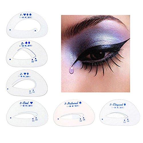 JIEPING 6PCS Cat Eye Stencils Eye Liner Card Create Attractive Eye Style