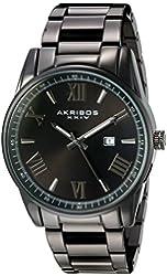 Akribos XXIV Men's Quartz Black Case with Silver-Tone Accented Black Dial on Black Stainless Steel Bracelet Watch AK936BK