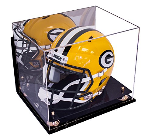 Deluxe Acrylic Football Helmet Display Case with Gold Risers Mirror and Wall Mount (A002-GR)