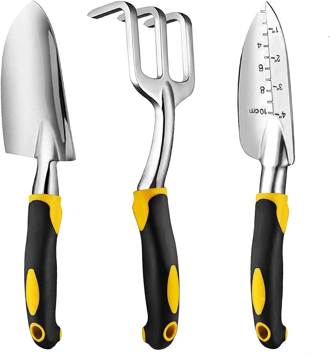 MENKOUTA Garden Tools Set, 3 Piece Gardening Tool Cast Aluminum with Soft Rubberized Handle Heavy Duty Durable Garden Hand Shovel Transplant Trowel and Hand Rake, Garden Gifts
