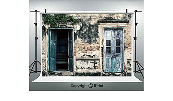 Rustic 8x10 FT Photo Backdrops,Doors of Old Rock House with French Frame Details in Countryside European Past Theme Background for Baby Shower Bridal Wedding Studio Photography Pictures Teal Grey