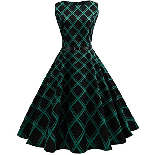 Mini Dress,Fashion Womens Dress Sleeveless Vintage Bodycon Plaid Casual O-Neck Evening Party Dress (L, Green) by WM & MW