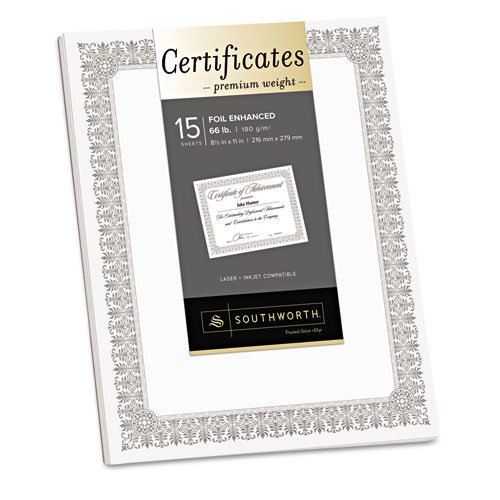 Southworth Premium Certificates, White, Fleur Silver Foil Border, 66 lb, 8.5 x 11, 15/Pack - Channel Border Foil
