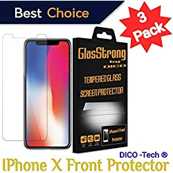 GlasStrong9H Hardness HD Screen protector for Apple IPHONE X FRONT Smartphone Tempered glass Clear Film Anti Scratch Anti Fingerprint High Light Case Friendly 3 Pack kit set Retail packaging