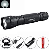 Comunite 501B XM-L T6 1000 Lumens Bright LED Flashlight Torch Tactical FlashLight Lamp + Gun Mount + Remote Pressure Switch + 1 x 18650 Rechargeable Battery + Battery Charger (White Light)