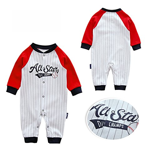 Fairy Baby Infant Baby Boys Girls Striped Long Sleeve Romper OutfitBaseball Pajamas Size 18-24M (4101) ()