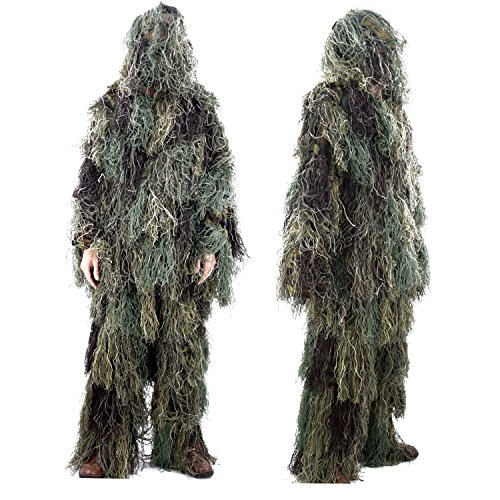 Woodland Ghillie Suit - Boknight Ghillie Suit, Military Camo Suit,Hunting and Shooting Forest Woodland Tactical Camouflage Clothing, Fit for CS 3D Game, Halloween or Christmas