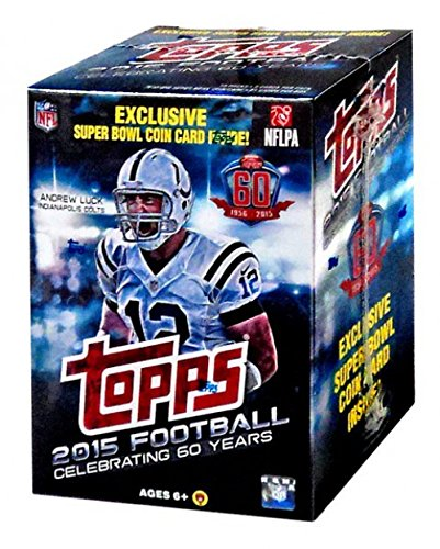2015 Topps NFL Football EXCLUSIVE Factory Sealed Retail Box with Special Commemorative SUPER BOWL COIN! Includes ROOKIE in Every Pack! Look for RC & Autographs of Jameis Winston,Marcus Mariota & -