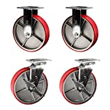 8'' Heavy Duty Casters - 2 Rigid 2 Swivel with Brake - Red Polyurethane Tread Service Caster Brand Set of 4