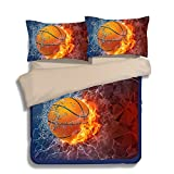 FAITOVE Basketball Microfiber 3pc 80''x90'' Bedding Quilt Duvet Cover Sets 2 Pillow Cases Full Size