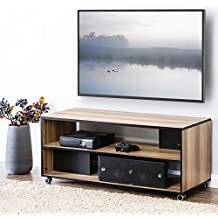 FITUEYES Wood TV Stand Storage Console with Wheels for 23 32 39 40 42 43 49 50 Inch TV Oak BTS310601WB