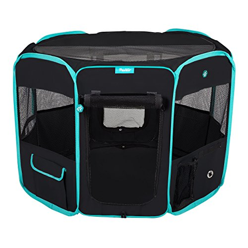 DELUXE PREMIUM Pet Dog Playpen Portable Soft Dog Exercise Pen Kennel with Carry Bag for Dogs, Cats, Kittens, and all Pets (Medium, ()