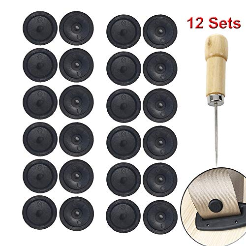 Y-Axis 12 x Seat Belt Button Buckle Clip Stop - Universal Fit Stopper Kit (Black-12 Sets) ()