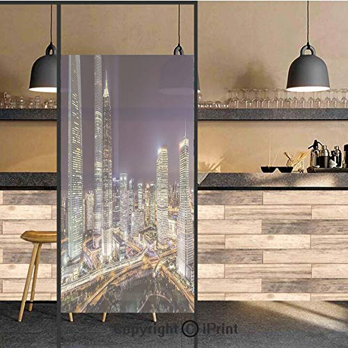 (3D Decorative Privacy Window Films,Skyline Illuminated Skyscrapers in Modern City at Night Architectural Cityscape Photo,No-Glue Self Static Cling Glass film for Home Bedroom Bathroom Kitchen Office 1 )