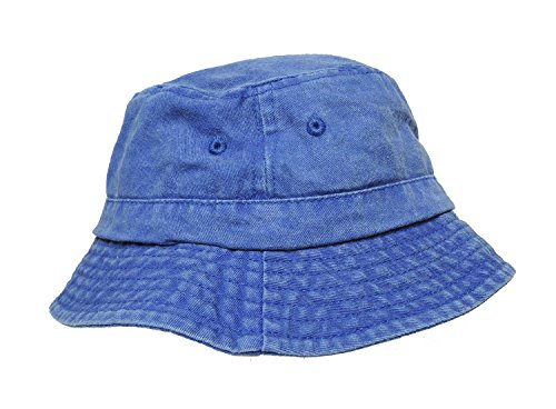 DALIX Bucket Hats Washed Cotton (Camouflage + Solid Color Styles- L/XL Sizes) (X-Large, Royal Blue) (Blue Denim Bucket Hat)