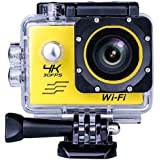 Sports Camera Video 4K WIFI Action Cam Underwater DV Camcorder HD 1080P 16MP 170 degree Wide-Angle Yellow