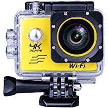SOUTHSTARDIGITAL Sports Camera Video 4K WIFI Action Cam Underwater DV Camcorder HD 1080P 16MP 170 degree Wide-Angle Yellow