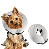 Airsspu Protective Inflatable Dog Collar - Soft Pet Recovery E-Collar Cone for Small Medium Large Dogs - Designed to Prevent Pets From Touching Stitches, Wounds and Rashes, Does Not Block Vision.Small